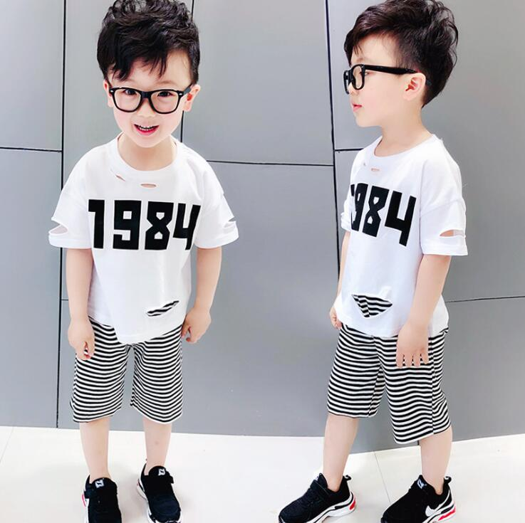 2b332bf62da new 2018 summer fashion style hole t shirt striped middle pant boys clothing  sets 2pc kids clothes sets boys summer clothes sets-in Clothing Sets from  ...