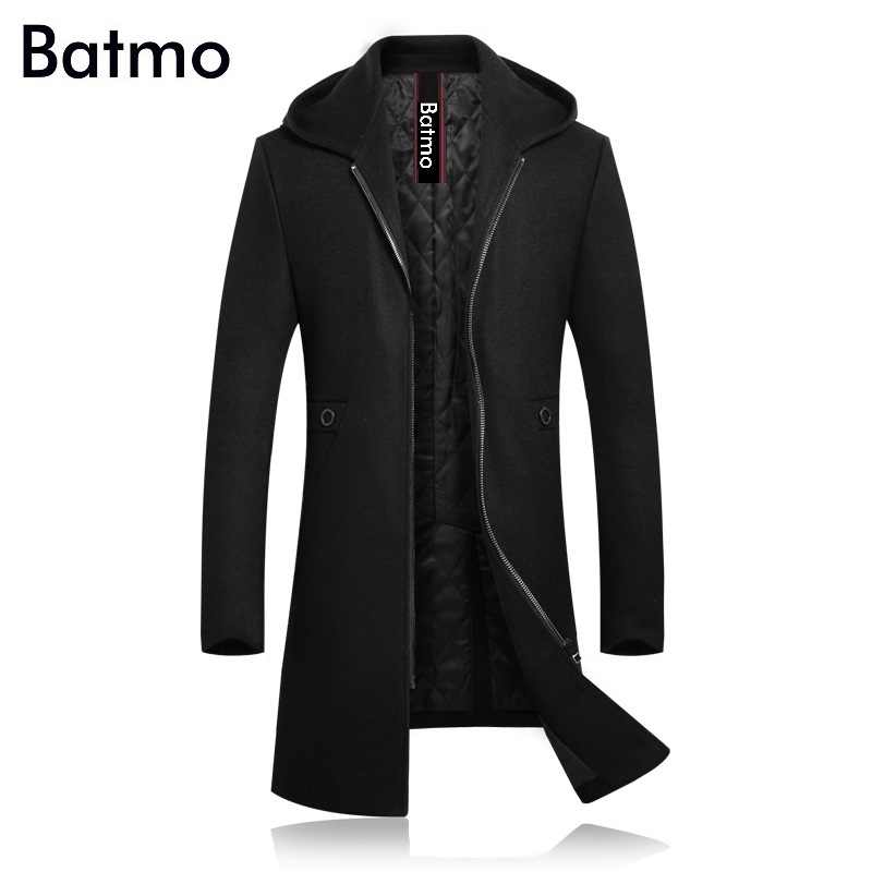 BATMO 2019 new arrival winter high quality wool thicked hooded trench coat men,men's winter hooded jackets 8030