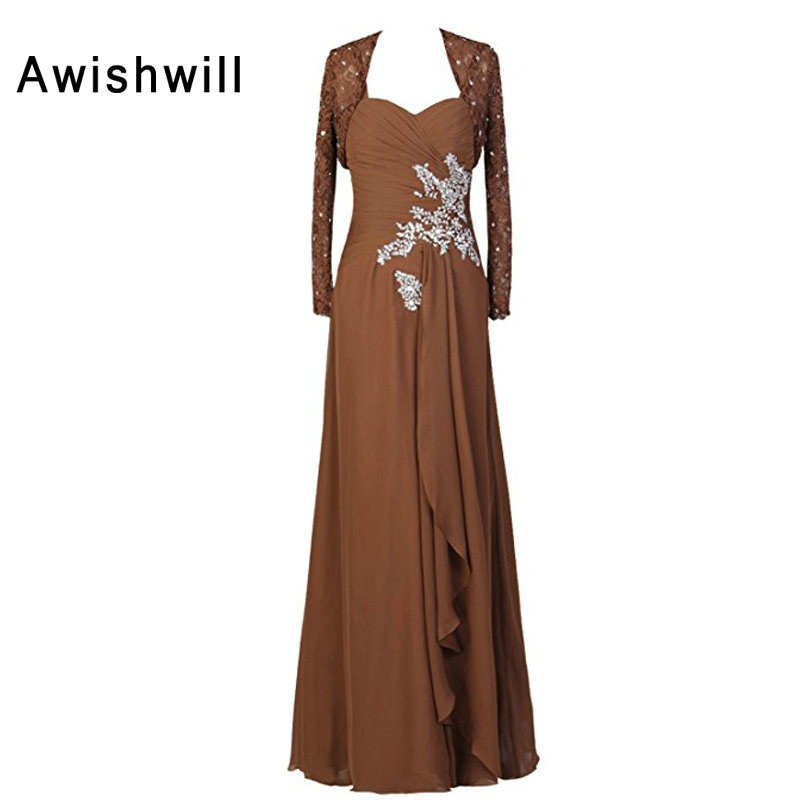 New Arrival Vestidos de Fiesta Para Bodas With Lace Jacket Beaded Appliques Chiffon Brown Mother of The Bride Dress Formal