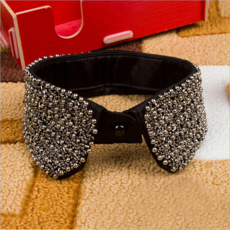 Black Beading Fake False Collar For Women Punk Detachable Collars Apparel Accessories For Choker Decoration Woman's Dress Girl
