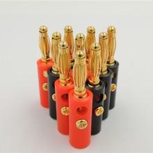 """100 יחידות באיכות גבוהה 4 מ""""מ תקע בננה בציפוי זהב אדום + שחור Lenth 40 מ""""מ"""