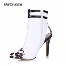 Batzuzhi-Autumn Spring Women Boots Shoes Pointed Toe Black White Ankle Boots Women Luxury Fashion Slingback Buckles Slim,Size 43 women spring autumn flats full grain leather pointed toe rivets fashion ankle martin boots size 34 39 sxq0910 page 2