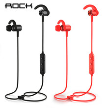 ROCK Bluetooth Earphone with Mic Half In-ear Bluetooth Headphone Wireless Neckband Magnetic Headset for iphone Xiaomi bass sound original xiaomi bluetooth collar earphone sport wireless bluetooth headset in ear magnetic mic play dual dynamic headphone