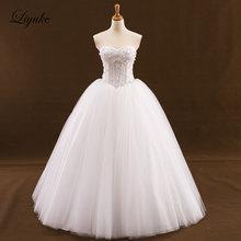 Liyuke Beading Ball Gown Wedding Dress Tulle Sweep Train