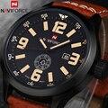 2016 Marca de Moda de Lujo de Los Hombres Relojes Deportivos hombres de Cuarzo Horas Fecha Reloj de Hombre Correa de Cuero Militar Del Ejército de Pulsera Resistente Al Agua reloj