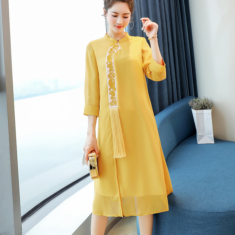 Women's Customized Spring Dress New Style Westernized Bottom Slim And Age losing Dress Yellow Pink Cute Amazing Girl CL015