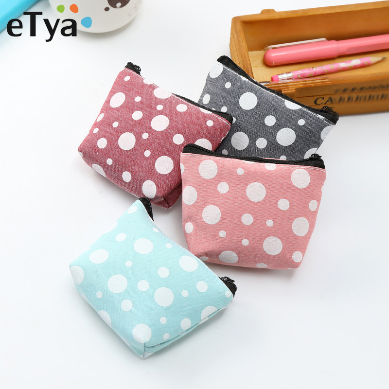 цена на eTya Cactus Canvas Coin Purses Women Small Wallet Change Purse Child Girl Dot Mini Zipper Pocket Bag Key Card Coin Holder Pouch