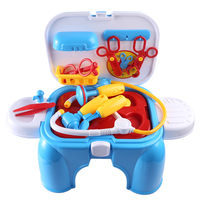 Children Pretend Play Toy Simulation Medicine Box Kid's Doctor Toy Set Baby Stethoscope Injection Tools Gift With Storage Chair