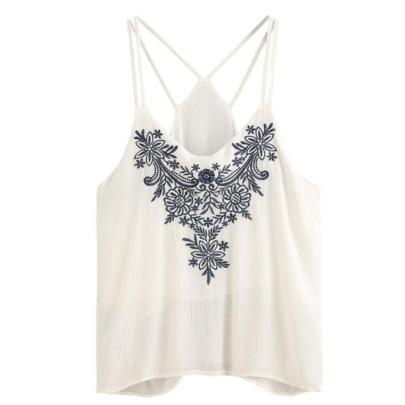 Summer Women Sleeveless Flower Embroidered Straps Tank Top  Female Chiffon Elegant White Tank Tops shirts Plus Size FUO#68
