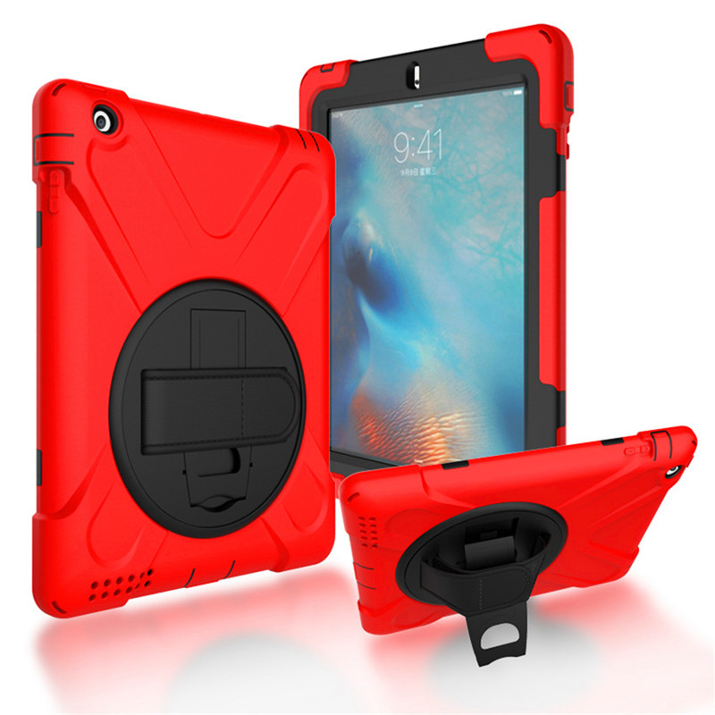 For iPad case 2 3 4 Shockproof Kids Protector Case for iPad 3 Heavy Duty Silicone Hard Cover kickstand design Hand bracelet hmsunrise case for apple ipad 4 for ipad 2 3 4 kids safe shockproof heavy duty silicone hard cover kickstand design wrist strap