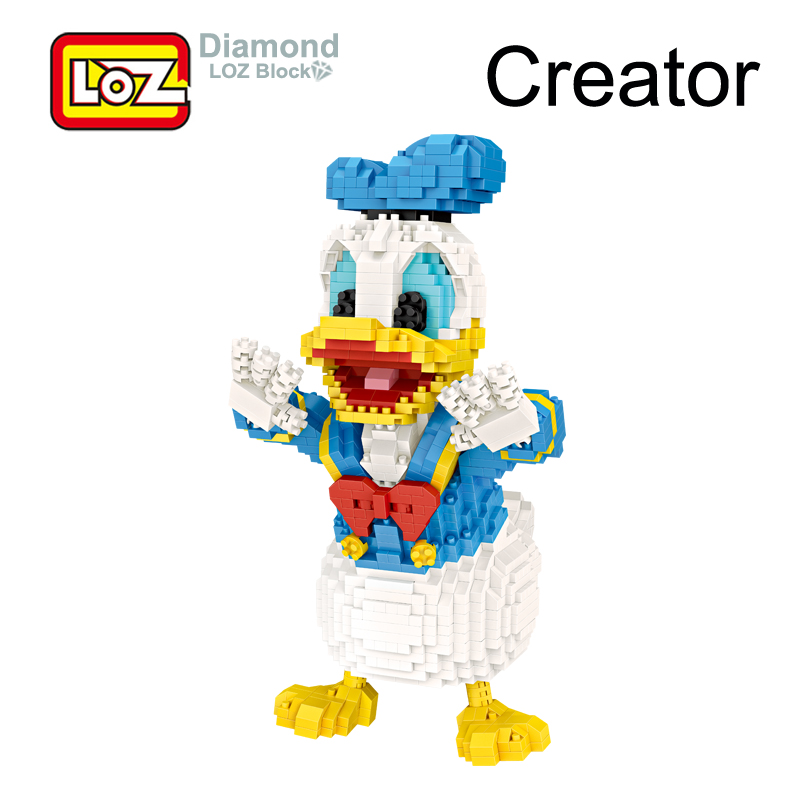 LOZ Duck Classic Cartoon Donald Model Mini Building Diamond Blocks 20 CM 1670pcs Figure Toy For Age 14+ Offical Authorized 9038 loz my neighbor totoro toy umbrella totoro model action figure diamond building blocks original box 14 gift 9509