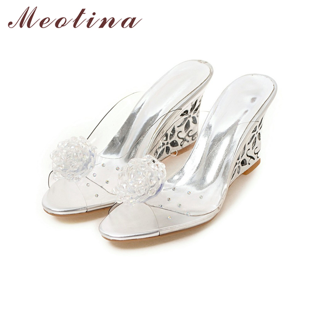 Meotina Women Shoes Slides Summer Sandals Flower Transparent Slippers High Heels Sandals Beading Mules Shoes Gold Large Size 43