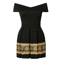 DayLook 2015 New Summer Off Shoulder Gold Foil Print Textured Bandage Dress Bodycon Dress Party Queen