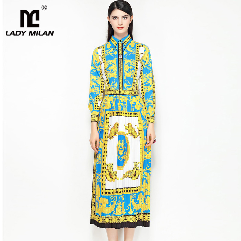 New Arrival Womens Turn Down Collar Long Sleeves Floral Printed Pleated Fashion Runway Mid Calf Dresses