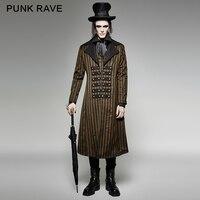 Панк рейв Готический мужские стимпанк Visual Kei в викторианском стиле в полоску длинное пальто модная куртка Y717