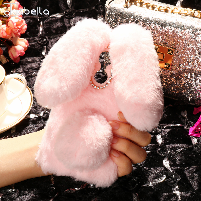 AKABEILA Cute Rabbit Fur Soft Phone Cases For HOMTOM HT37 Case Silicon TPU Coque Funda For HOMTOM HT37 Pro Cover 5.0 inch