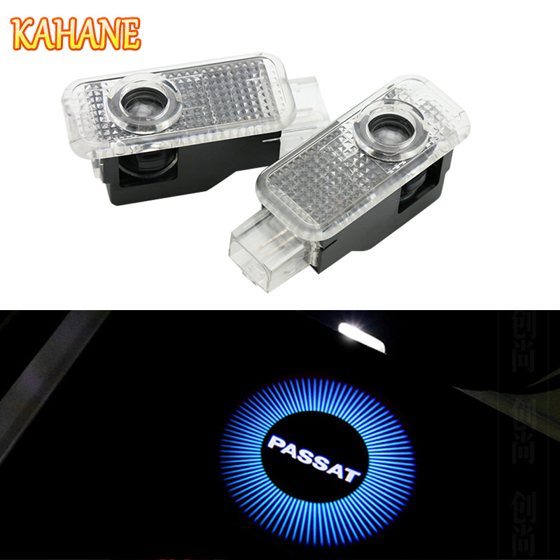 цены KAHANE 2x Passat Logo Led Car Door Light Courtesy Projector Ghost Laser Light FOR VW Passat B5 1998-2010 Phaeton 2004-2015