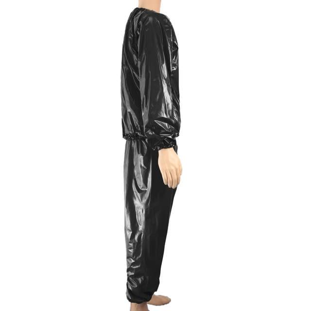 c22b606e48c Fitness Waterproof PVC Heavy Sauna Suit Sweat Clothes Gym Training Slimming  Workout Weight Loss Sauna Clothes L XXXL 4XL
