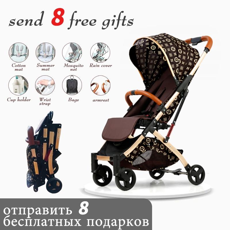 Free Shipping 5.8 Kg Lightweight Stroller Gold Frame Car Portable Fold Umbrella Baby Stroller Newborn Travelling Pram On Plane