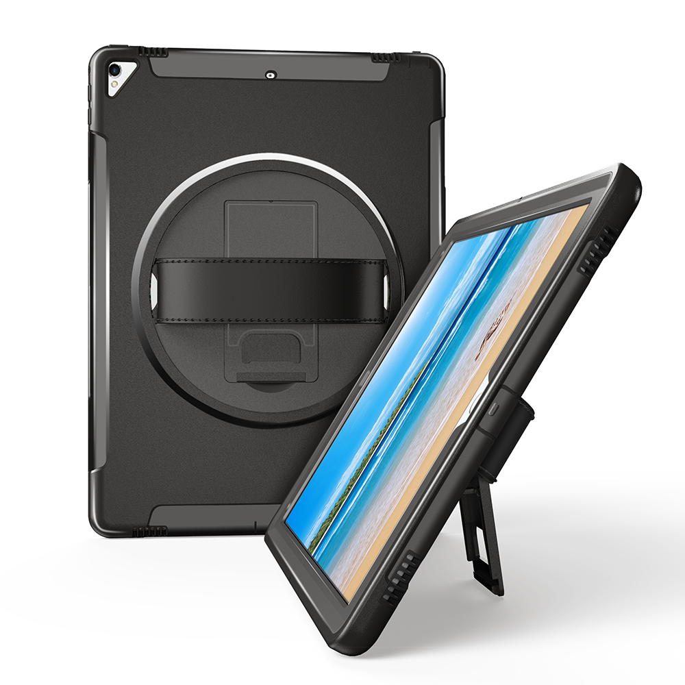 Miesherk Case for iPad Pro 12.9 with 360 Degree Rotating Leather Hand Strap and Kickstand, Heavy Duty Shockproof Drop Protector
