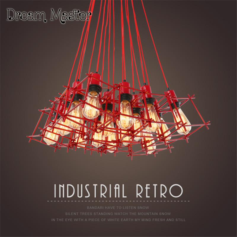 American style retro industrial wind chandelier Nordic living room restaurant bar clothing shop coffee shop Red iron Chandelier continental iron leisure tall bar chairs and american industrial wind retro coffee tables chair counter