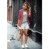 BEFORW Cool New Fashion Casual Lady Red Lattice Long Sleeve Lapel Small Suit Jacket Autumn And