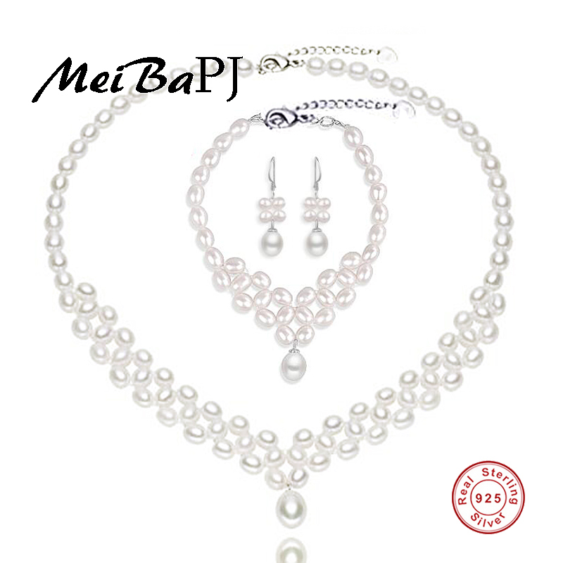 [MeiBaPJ]2018 Fashion Natural Freshwater Pearl Hand Knitte Jewelry Sets S925 Silver Fine ...