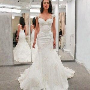 Image 2 - JIERUIZE White Lace Mermaid Trouwjurken Sweetheart Bruidsjurken Bruid Jurken robe de mariee
