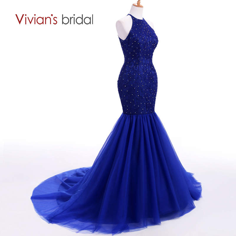 Vivian's svadba Halter bez rukava sirena večernja haljina dugo - Haljina za posebne prigode - Foto 2