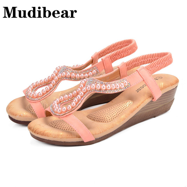 a954ceba6add65 Mudibear Women Shoes Size Plus Wedge Sandals Beading Hollow Ladies Bohemia  Open Toe Soft Pink Beach Sandals Women 2018 Summer