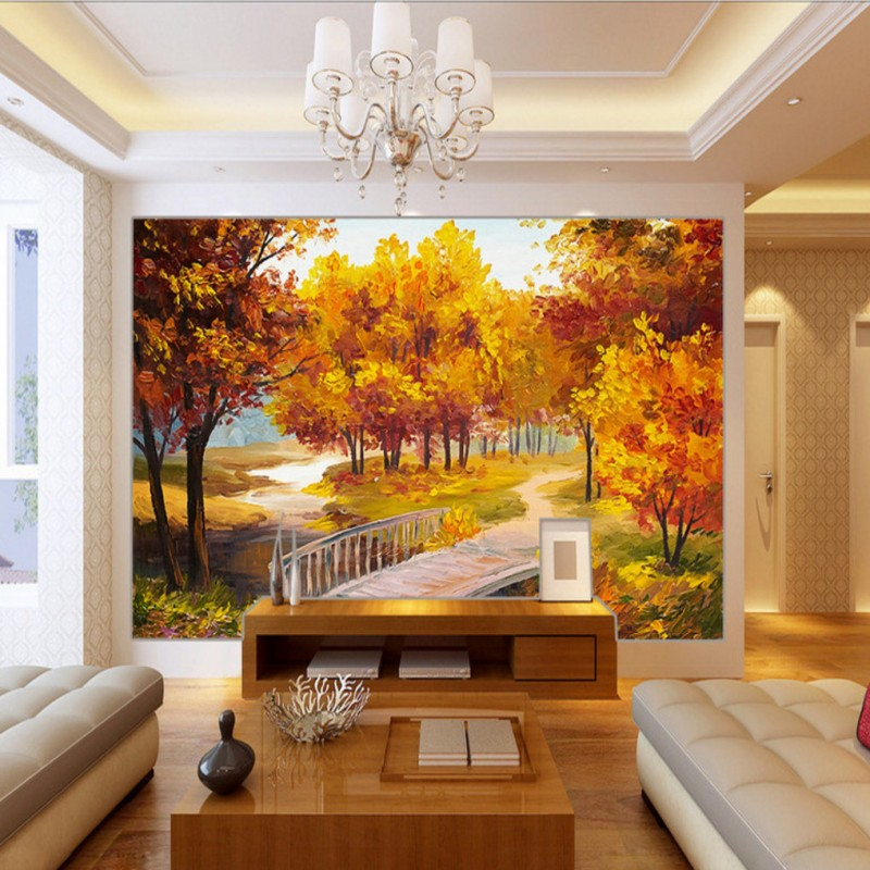 Custom photo wallpaper 3D wallpaper Autumn Trees Landscape Oil Painting Background Wall wallpaper custom living room mural book knowledge power channel creative 3d large mural wallpaper 3d bedroom living room tv backdrop painting wallpaper