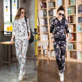 MOKnife 2017 winter Printed long-sleeve pants two-piece cardigan sweater Casual suit women loose big yards tracksuit
