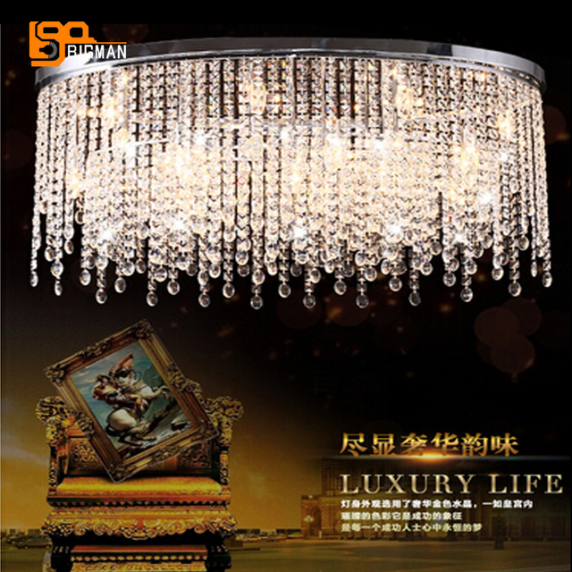 new design oval chandelier cristal lampe lustre luminaire plafonnier