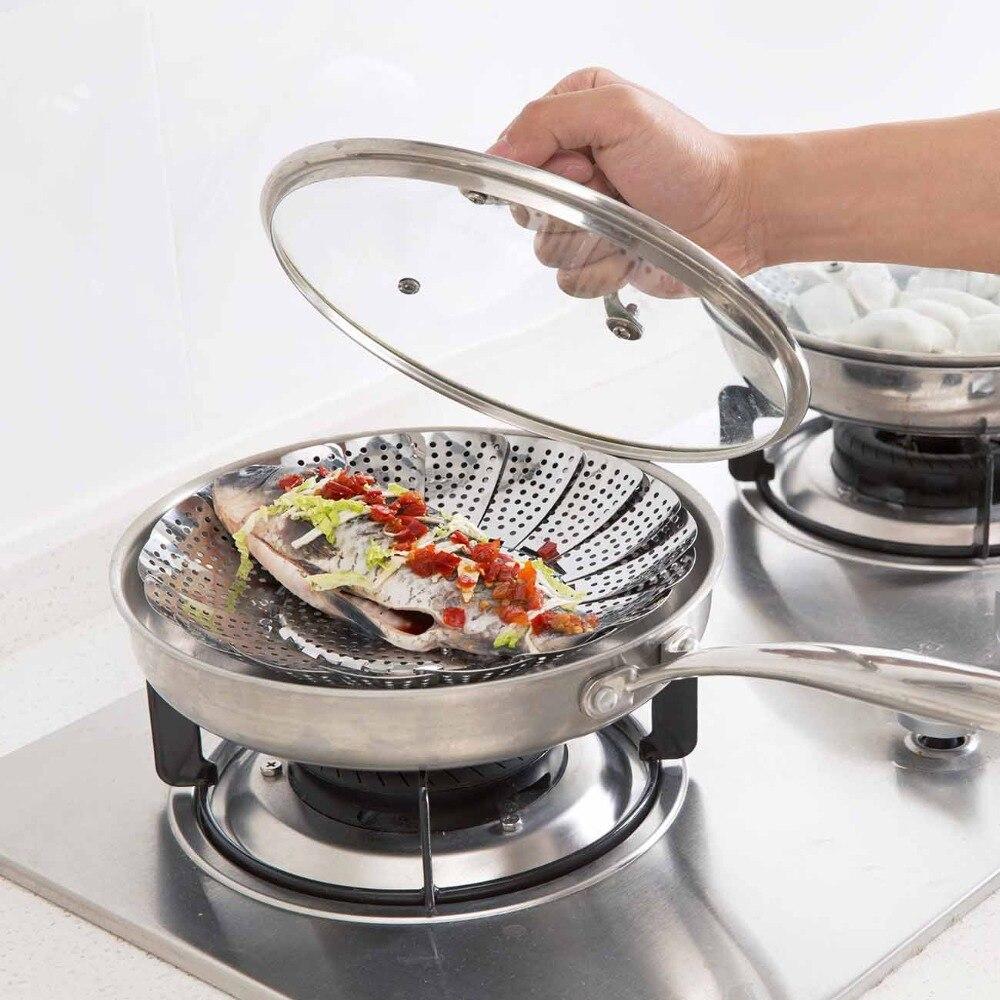 Cookware Folding Dish Steam Stainless Steel Food Basket Mesh Vegetable Vapor Cooker Steamer Expandable Pannen Kitchen Tool