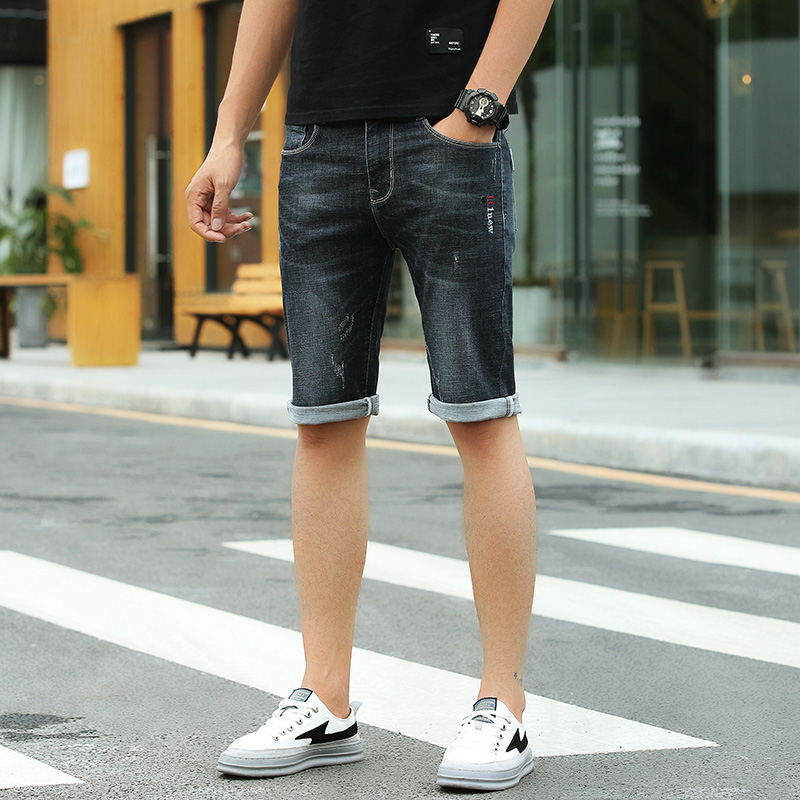 Hot Sale Youth Mans Jeans 2018 New Summer Stretch Lightweight Thin Short Denim Pants Scratched Short for Men Dark blue W004