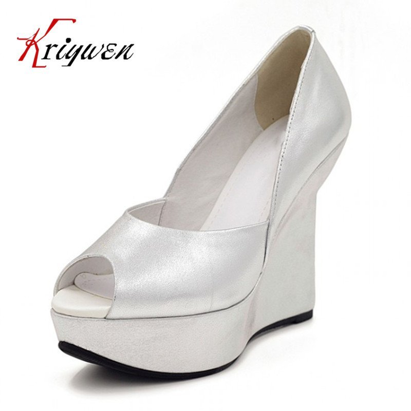 fashion spring and summer 2015 silver wedding shoes ultra high heels open toe genuine leather womens