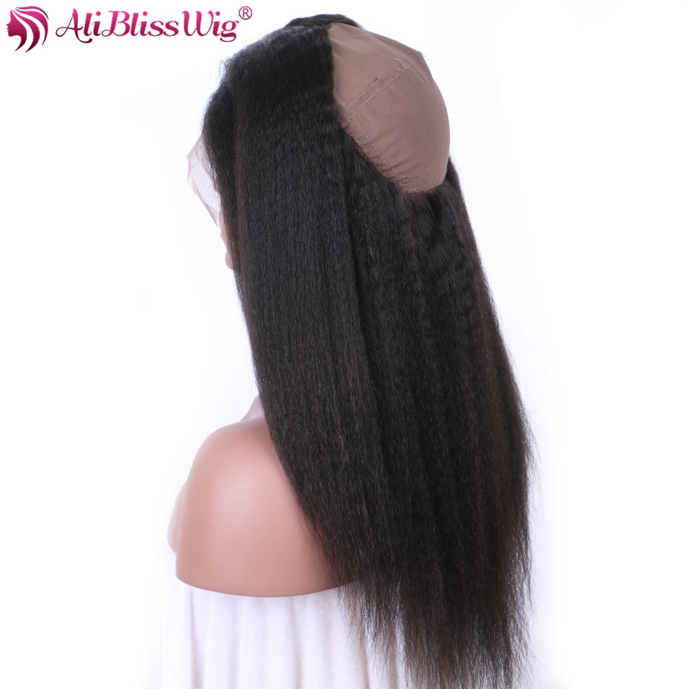 Kinky Straight 360 Lace Frontal Closure With Baby Hair 4inch Natural Color 100% Human Hair Brazilian Remy Free Shipping