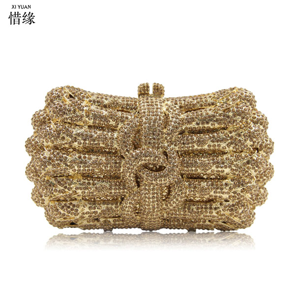 Woman Evening Bag gold Diamond Rhinestone Clutch Crystal Day Clutches  Wallet Wedding prom cocktail Purse Party 11a2711767ef4