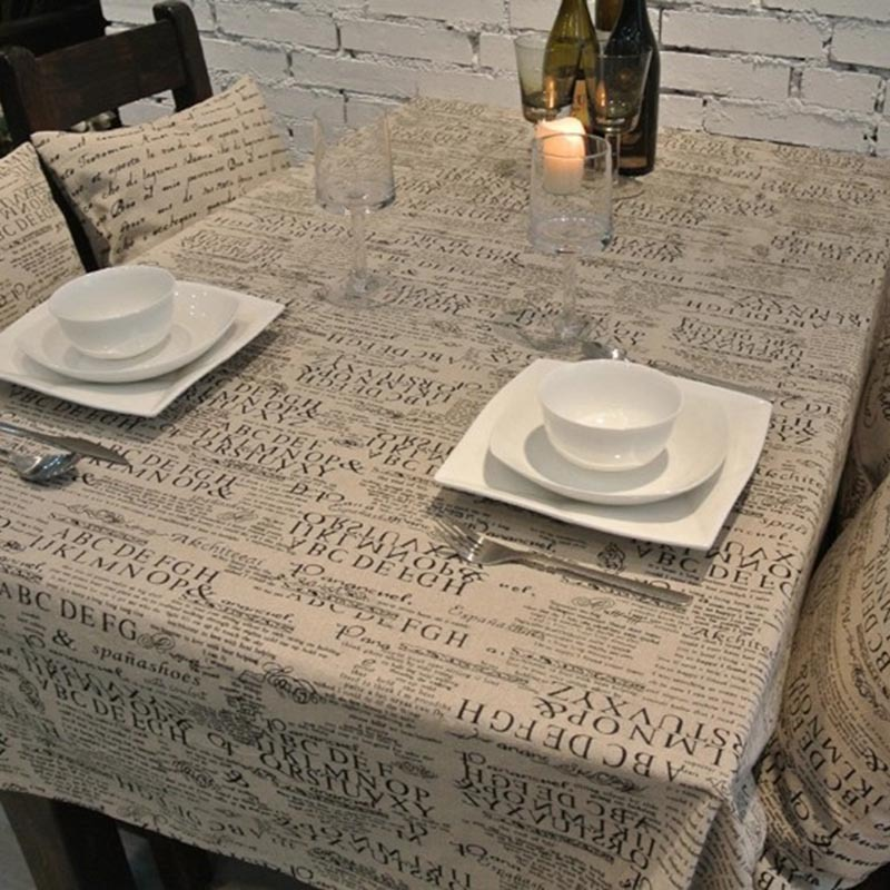 European Style Letter Linen Tablecloths High Quality Table Cloth manteles de plastico para mesa Japanese Tablecloth