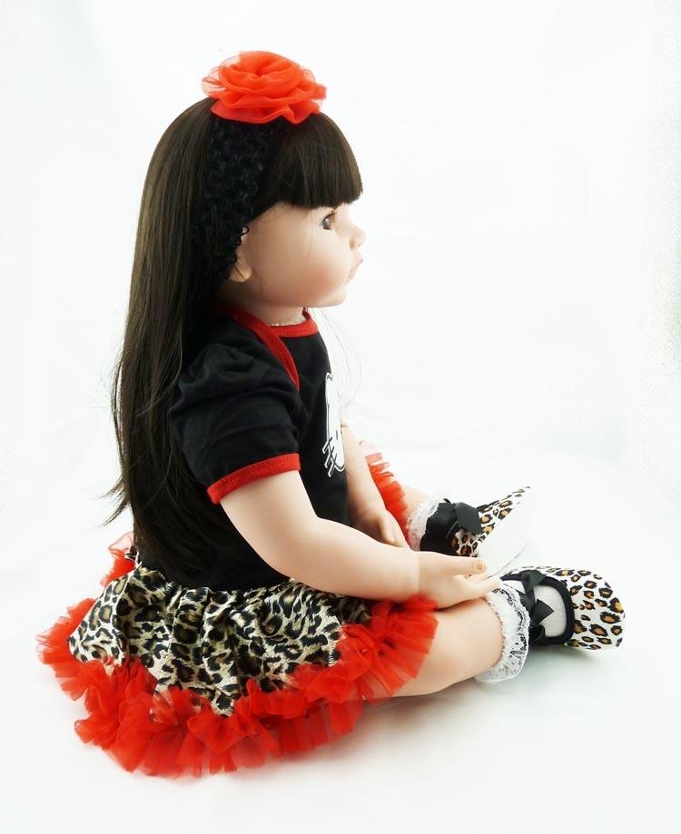Nieuwe 55 cm reborn doll realistische zachte siliconen wedergeboorte pop lang haar leuke pasgeboren baby speelgoed kinderen kerstcadeau-in Poppen van Speelgoed & Hobbies op  Groep 3