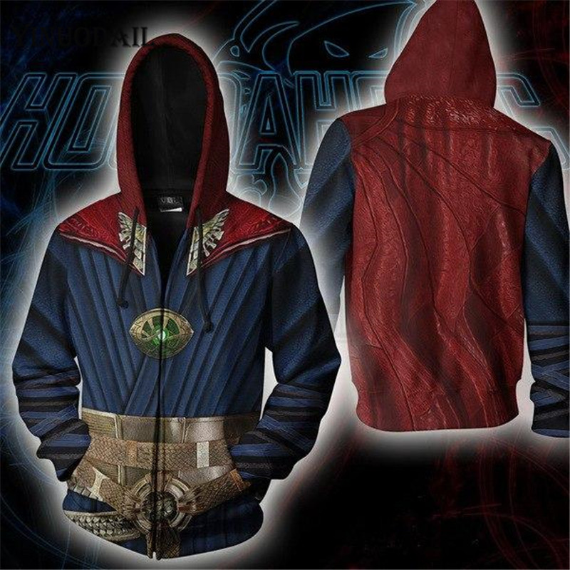 Avengers 4 Endgame Men And Women Zipper Hoodies Doctor Strange 3D Hooded Jacket Superhero Sweatshirt Streetwear Cosplay Costume