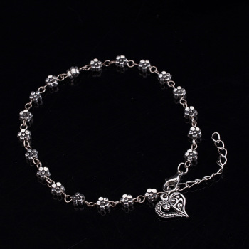 New Fashion Foot Chain Tibetan Silver Hollow Plum Daisy Flowers Heart-Shaped Anklet For Women 5