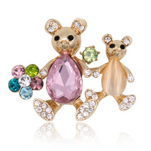 Adorable Crystal Rhinestone Mother Kid Bear Brooch Pin Metal Double Animal Holiday Gift Women Fashion Jewelry Scarf Buckle 2017