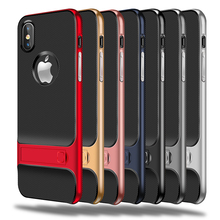 MaxGear Luxury 360 Protective Case For iPhone X Cover Kickstand PC+TPU Shock Proof Holder Phone Cover For iPhone X Case Coque
