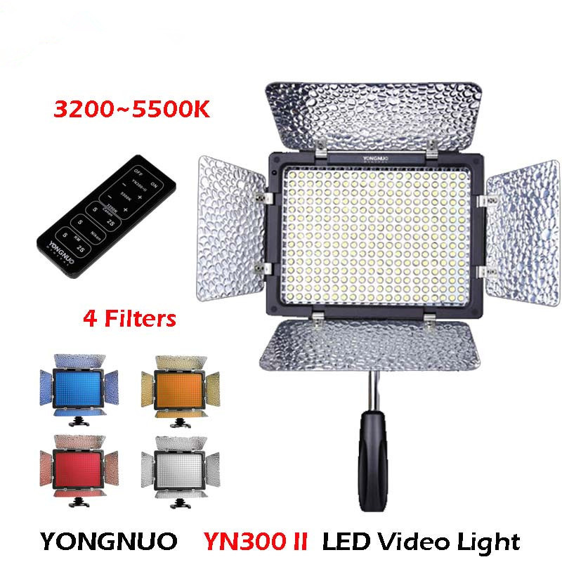 Yongnuo YN300 II YN-300 ll Pro LED Video Light Camera Camcorder Color with Remote Control controlled for Canon Nikon godox led 308y 308 leds professional led video 3300k light with remote control for canon nikon camera dv camcorder