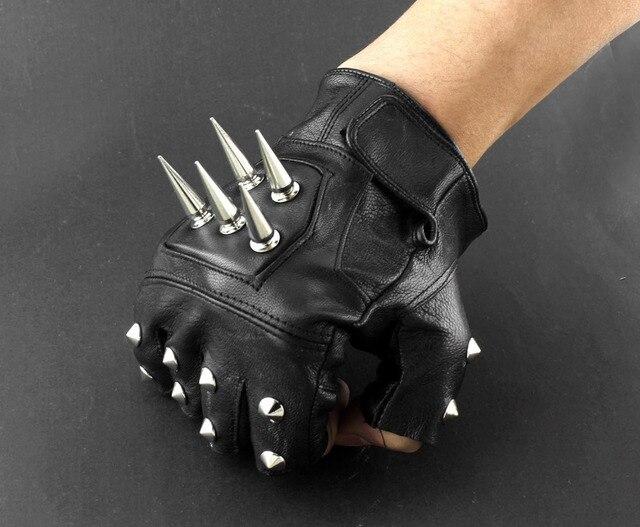 Gants sans doigts pour motocycliste, en cuir pour hommes, Punk, à pic
