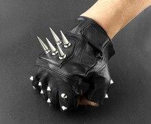 Giày Rọ Da Thật Nam Da Mũi Nhọn Bông Punk Rocker Lái Xe Máy Biker Fingerless Gloves