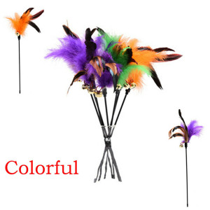 1PC Teaser Feather Toys Kitten Pet Teaser Turkey Feather Interactive Fun Toy Colorful Wire Chaser Wand Cat Supplies DropShip Hot(China)