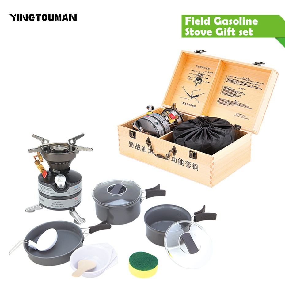 Brs-21 Field Gasoline Stove Gift Set One -piece Portable Camping Picnic Stove Convenient Outdoor Multi-functional Set Of Pan wireless buzzer bell system strong signal 433 92mhz restaurant pager by ce passed 1 display 8 call button
