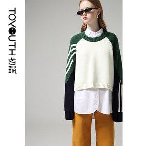 Image 2 - Toyouth moda kadın bluzlar 2019 sonbahar uzun kollu erkek arkadaşı tarzı rahat standı yaka düz renk Streetwear bluz gömlek